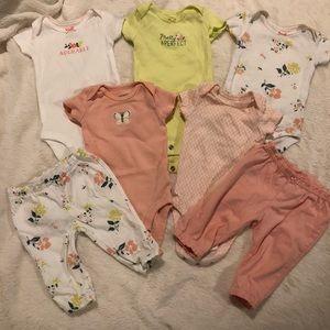 7 piece-NB Carter's onesies and pants set